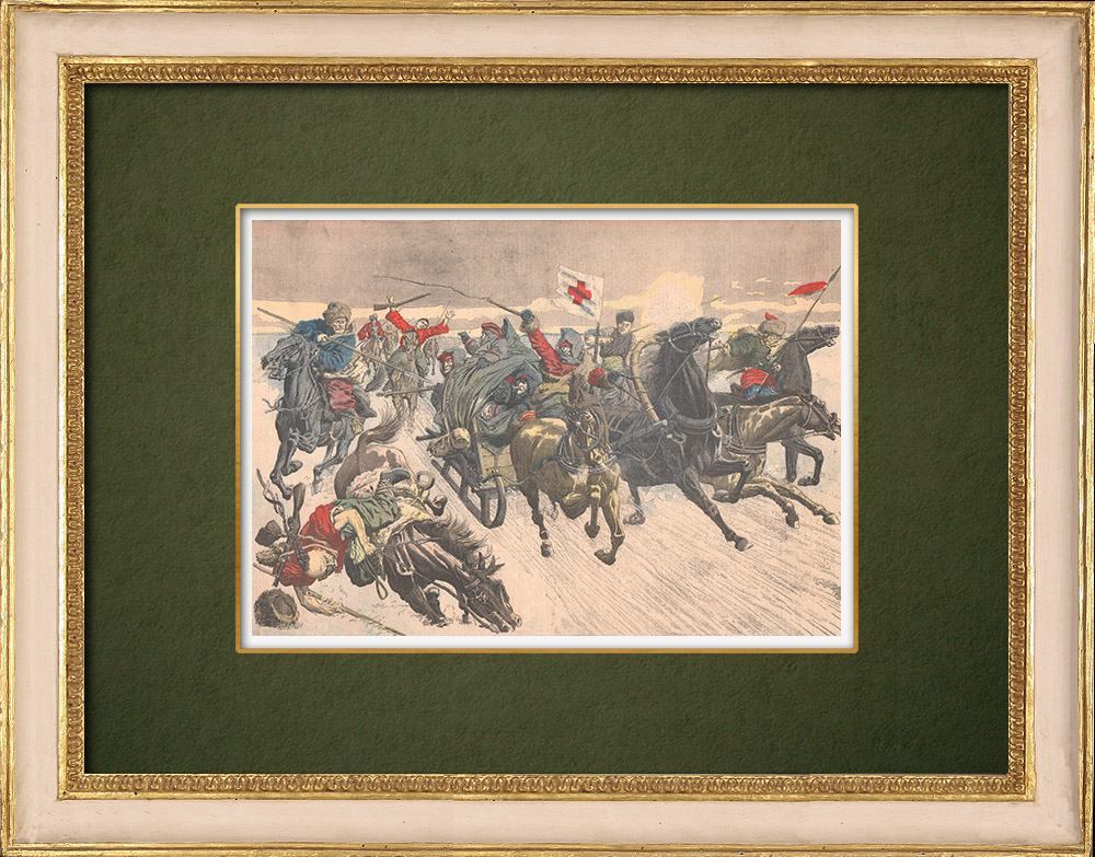 Antique Prints & Drawings   Khoungouzes attack a sledge carrying russian wounded - Manchuria - 1905   Wood engraving   1905