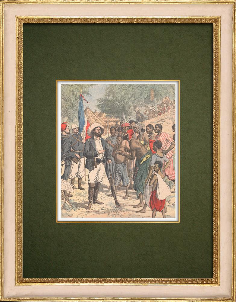 Gravures Anciennes & Dessins | Pierre Savorgnan de Brazza lors de son dernier voyage au Congo - 1905 | Gravure sur bois | 1905
