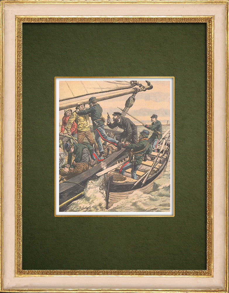 Antique Prints & Drawings | Smugglers - The customs in Dunkirk - Nord-Pas-de-Calais - 1905 | Wood engraving | 1905