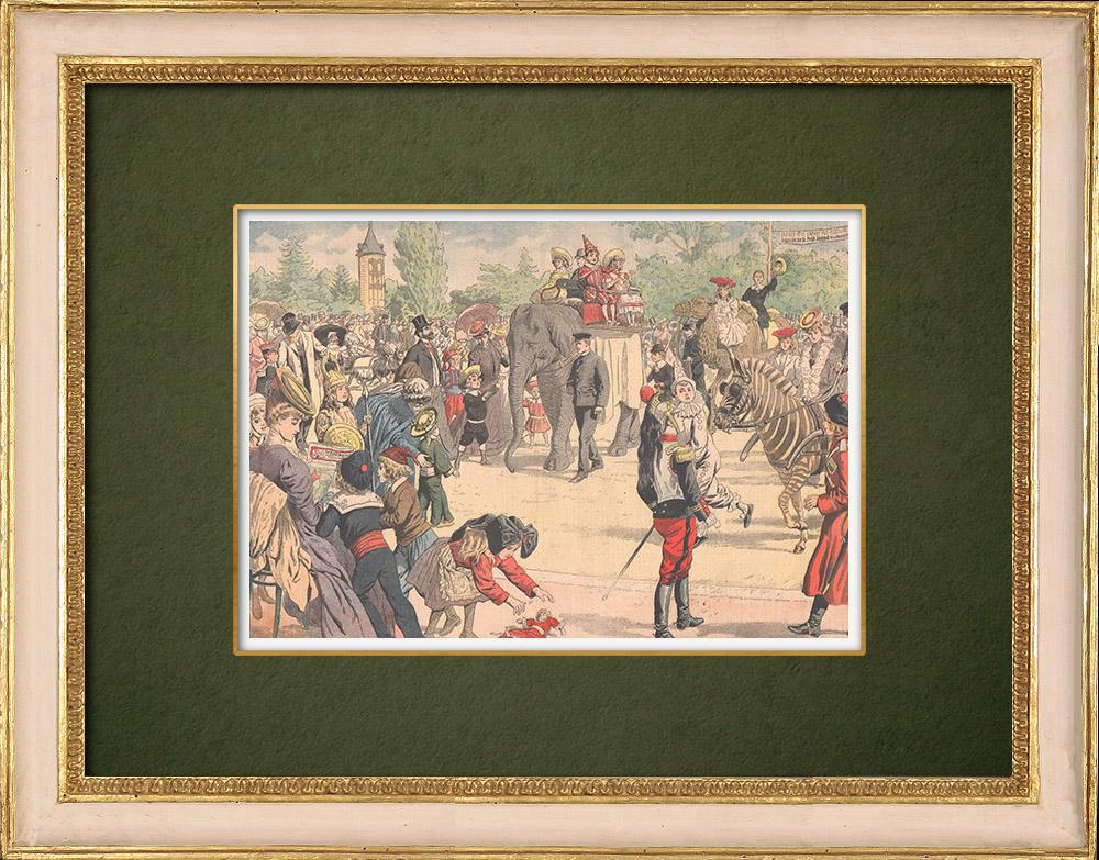 Antique Prints & Drawings | Costumed children's party in Jardin d'Acclimatation - Paris - 1905 | Wood engraving | 1905