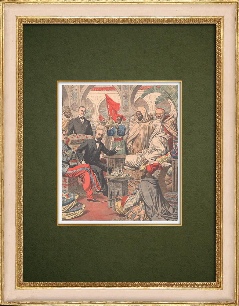 Gravures Anciennes & Dessins   Le Sultan du Maroc reçoit G. Saint-René Taillandier à Fès - Maroc - 1905   Gravure sur bois   1905