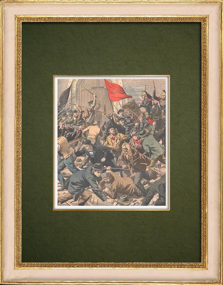 Gravures Anciennes & Dessins | Emeutes sanglantes à Limoges - 1905 | Gravure sur bois | 1905