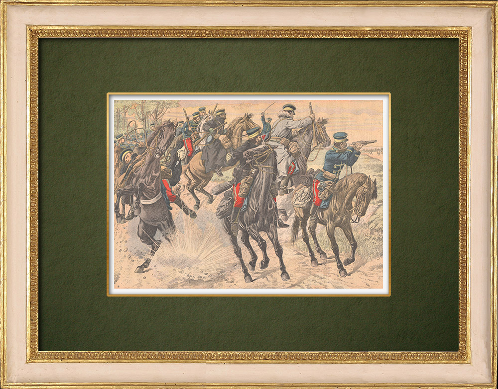 Antique Prints & Drawings | Surveillance of Japanese cavalry - Harbin - Manchuria - 1905 | Wood engraving | 1905
