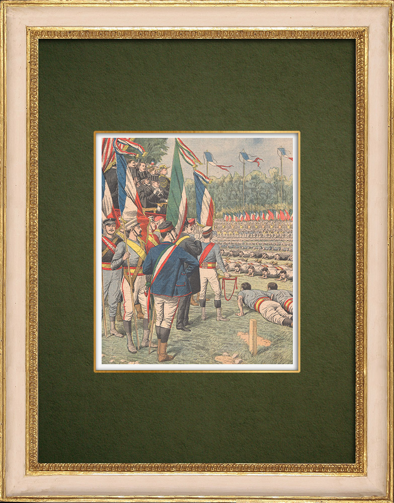 Antique Prints & Drawings   Gymnastics party in front of the President of the Republic in Bordeaux - 1905   Wood engraving   1905