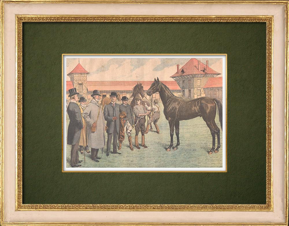 Antique Prints & Drawings | King Edward VII visits the Haras de Jardy - Marnes-la-Coquette - Île-de-France - 1905 | Wood engraving | 1905