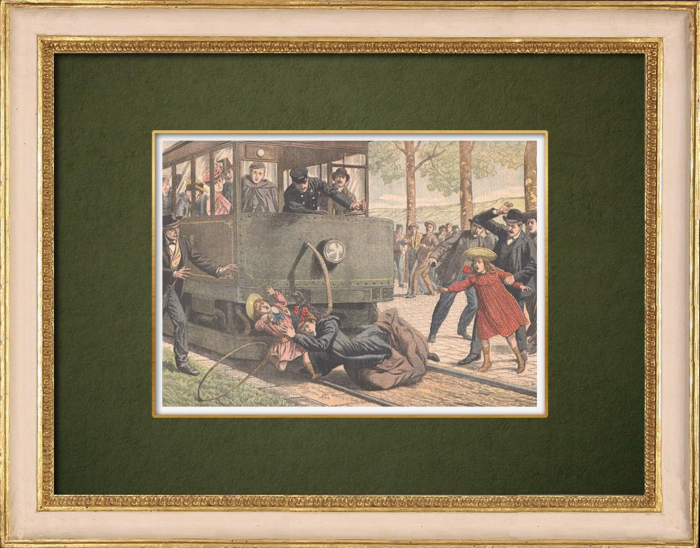 Grabados & Dibujos Antiguos | Accidente de tranvía en Romainville - Isla de Francia - 1905 | Grabado xilográfico | 1905