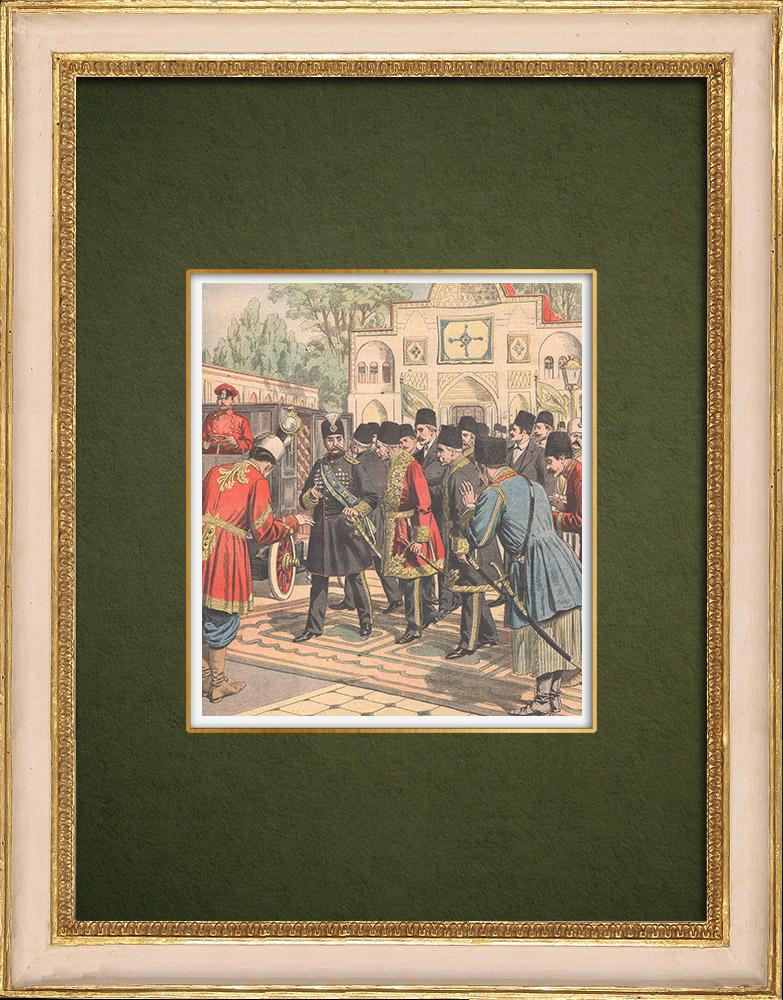 Gravures Anciennes & Dessins | Départ du Chah de Perse en automobile vers l'Europe - Téhéran - 1905 | Gravure sur bois | 1905