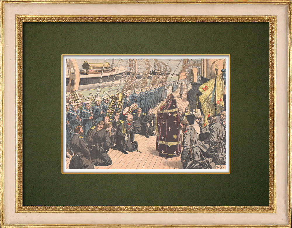 Antique Prints & Drawings | Religious ceremony aboard a Russian vessel - Far East - 1905 | Wood engraving | 1905
