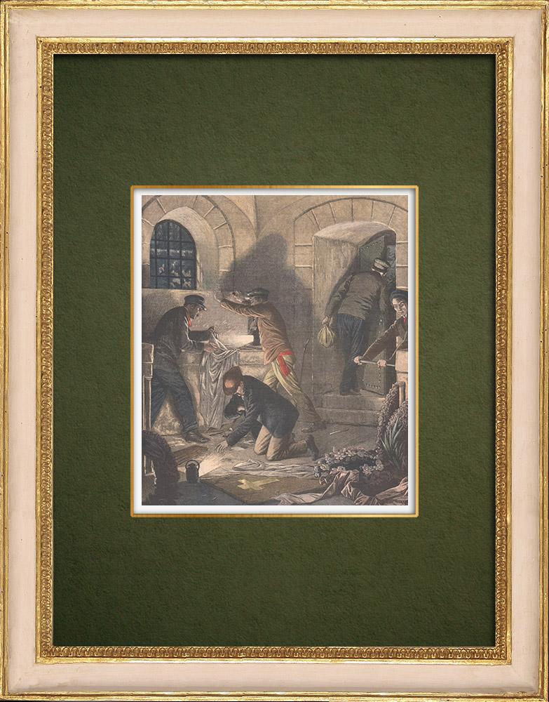 Antique Prints & Drawings | Looting of tombs in Colombes - Île-de-France - 1905 | Wood engraving | 1905