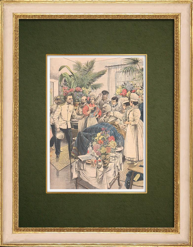 Antique Prints & Drawings   Admiral Togo visits Admiral Rojestvenski at Sasebo hospital - Japan - 1905   Wood engraving   1905