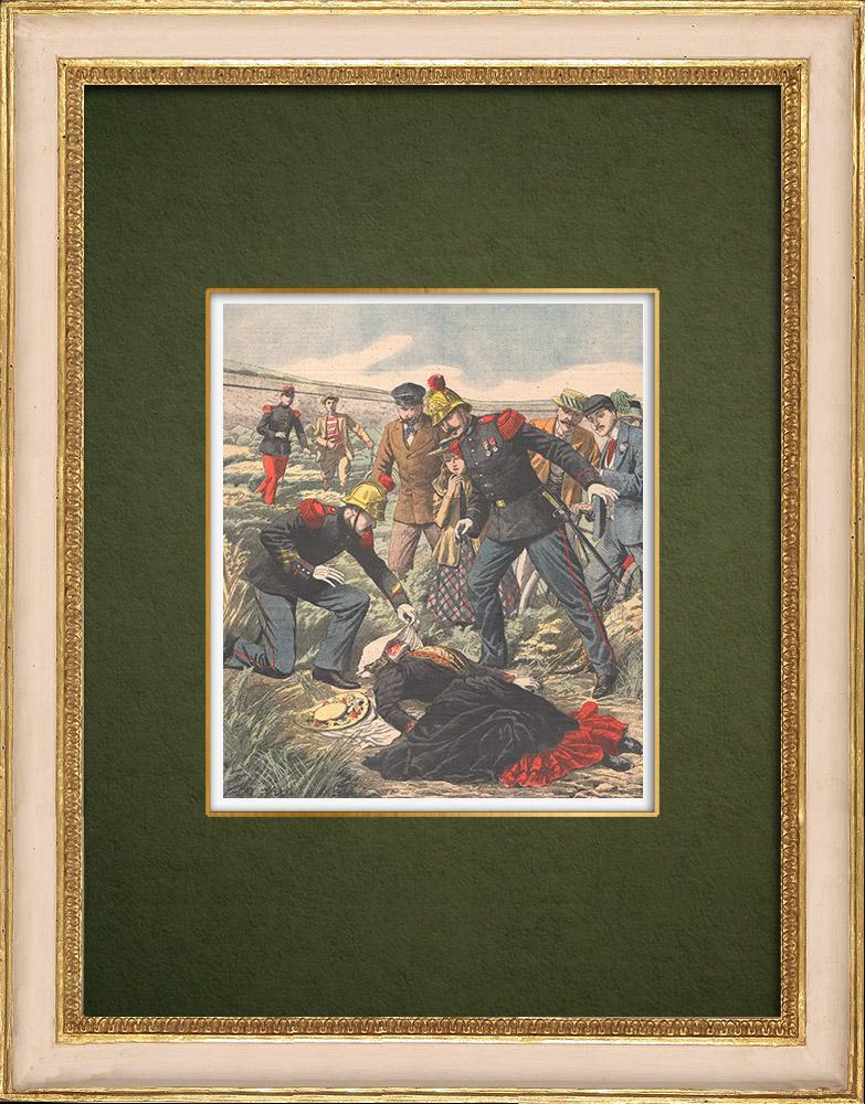 Antique Prints & Drawings | Assassination of an English woman near Nanterre - Île-de-France - 1905 | Wood engraving | 1905
