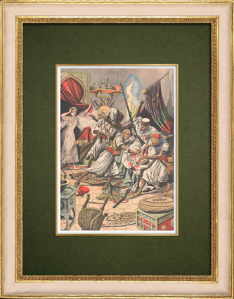 Antique Prints & Drawings   Assassination of the Austrian Consul in Morocco - Mazagan - Morocco - 1905   Wood engraving   1905