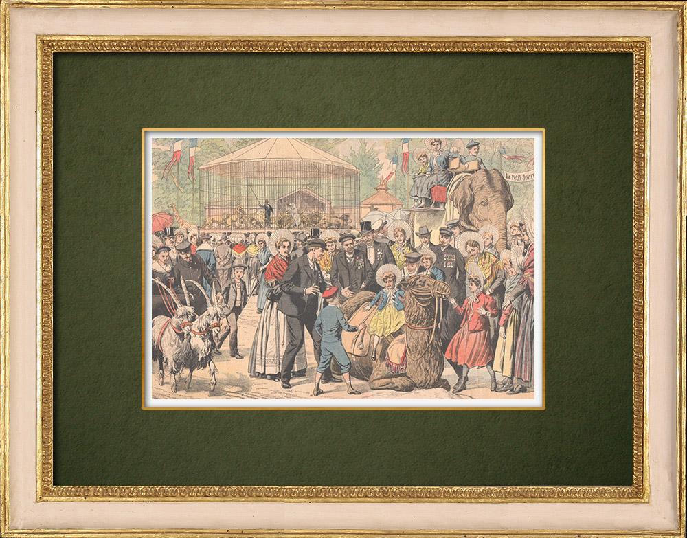 Antique Prints & Drawings | Visit in Jardin d'Acclimatation - Paris - 1905 | Wood engraving | 1905