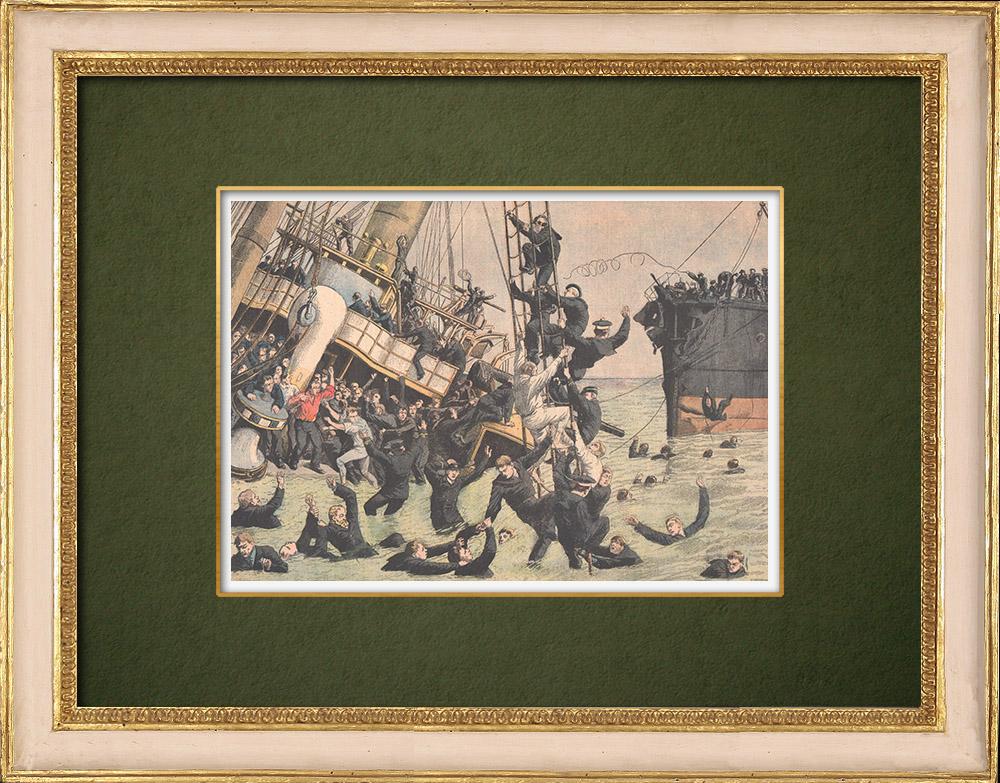 Antique Prints & Drawings | Collision at sea near Copenhagen - Denmark - 1905 | Wood engraving | 1905