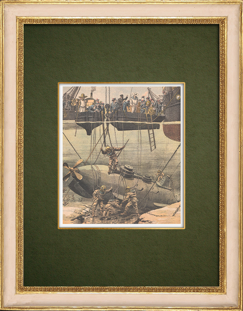 Antique Prints & Drawings | Accident of the french submarine Farfadet - Bizerte - Tunisia - 1905 | Wood engraving | 1905