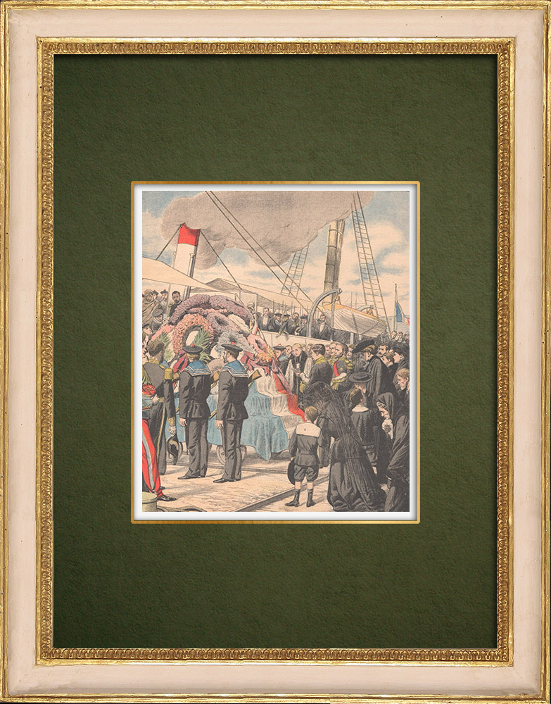 Antique Prints & Drawings | Accident of the french submarine Farfadet - Burial of the victims - Bizerte - Tunisia - 1905 | Wood engraving | 1905