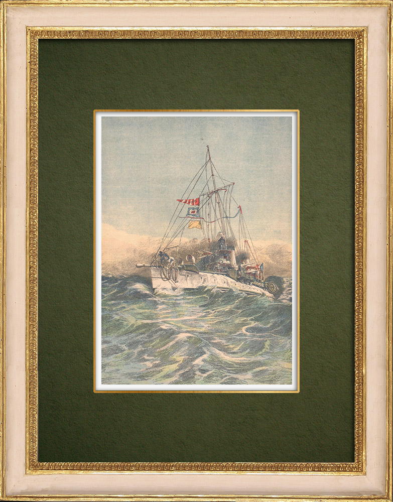Antique Prints & Drawings | French Navy - Scout cruiser - Mediterranean - 1905 | Wood engraving | 1905