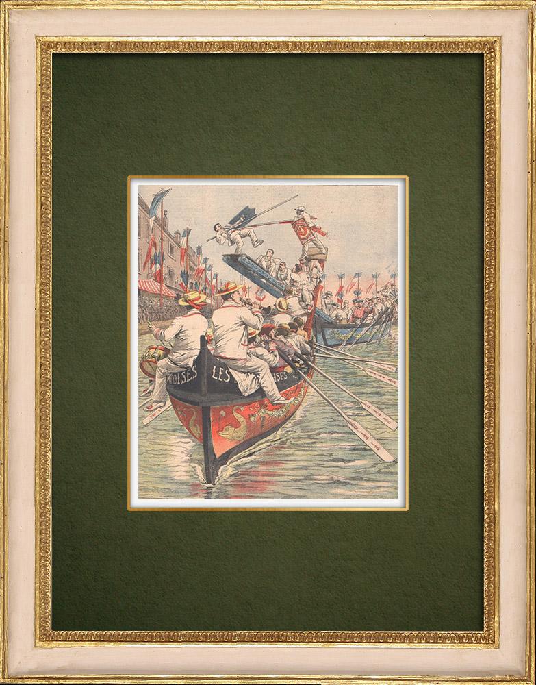 Antique Prints & Drawings   Naval tournament in Sète - Cette - Languedoc-Roussillon - France - 1905   Wood engraving   1905