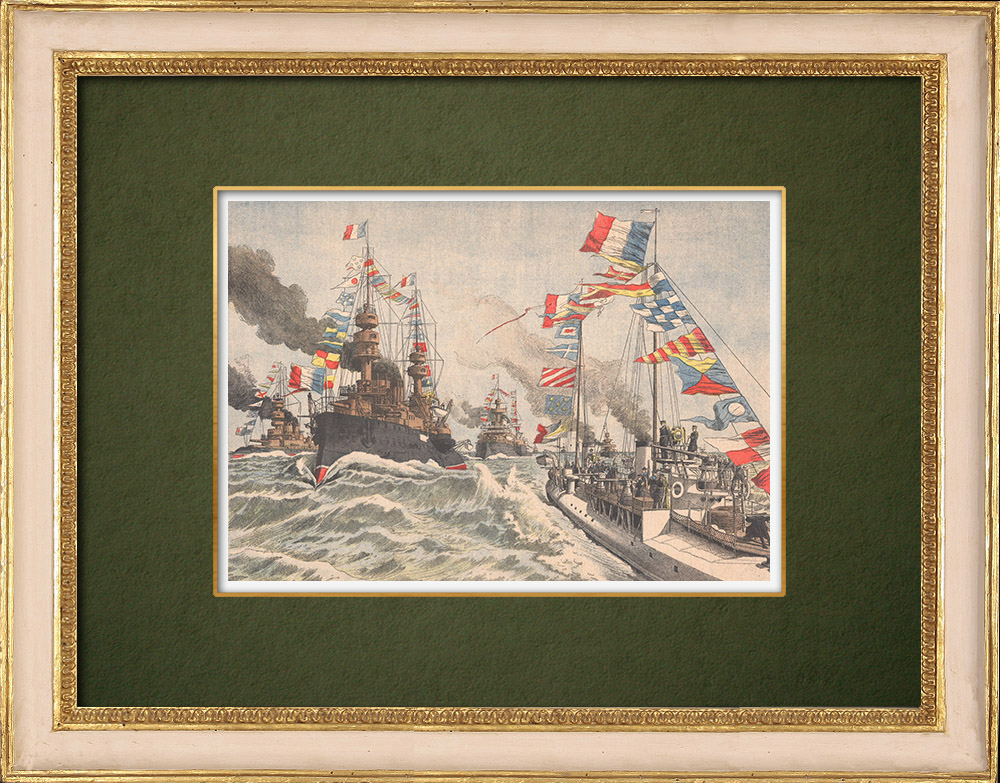 Antique Prints & Drawings | The french Fleet in Portsmouth - England - 1905  | Wood engraving | 1905