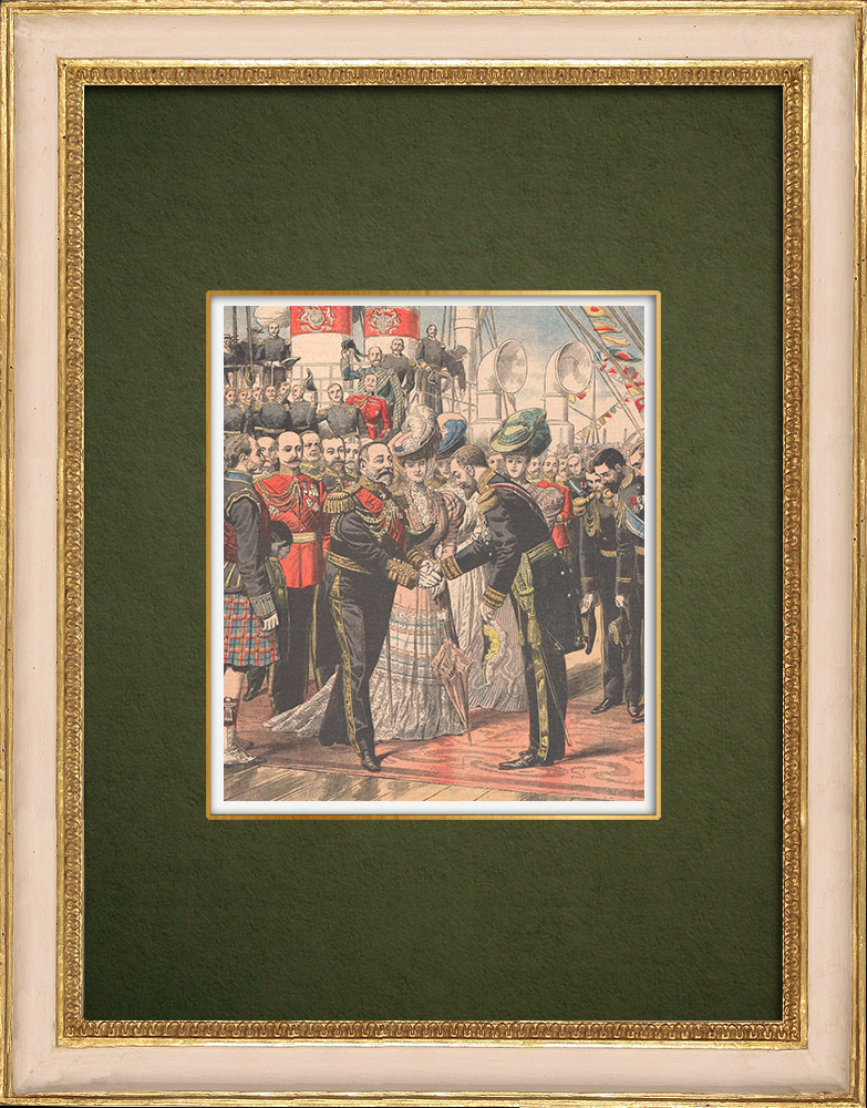 Antique Prints & Drawings | Entente cordiale - Edward VII of England receives Admiral Caillard - Portsmouth - 1905 | Wood engraving | 1905