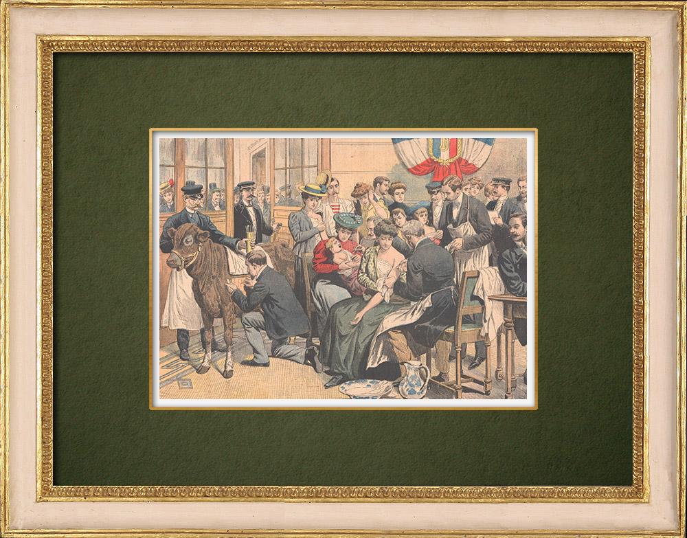 Gravures Anciennes & Dessins | Vaccination gratuite contre la Variole - Paris - 1905 | Gravure sur bois | 1905