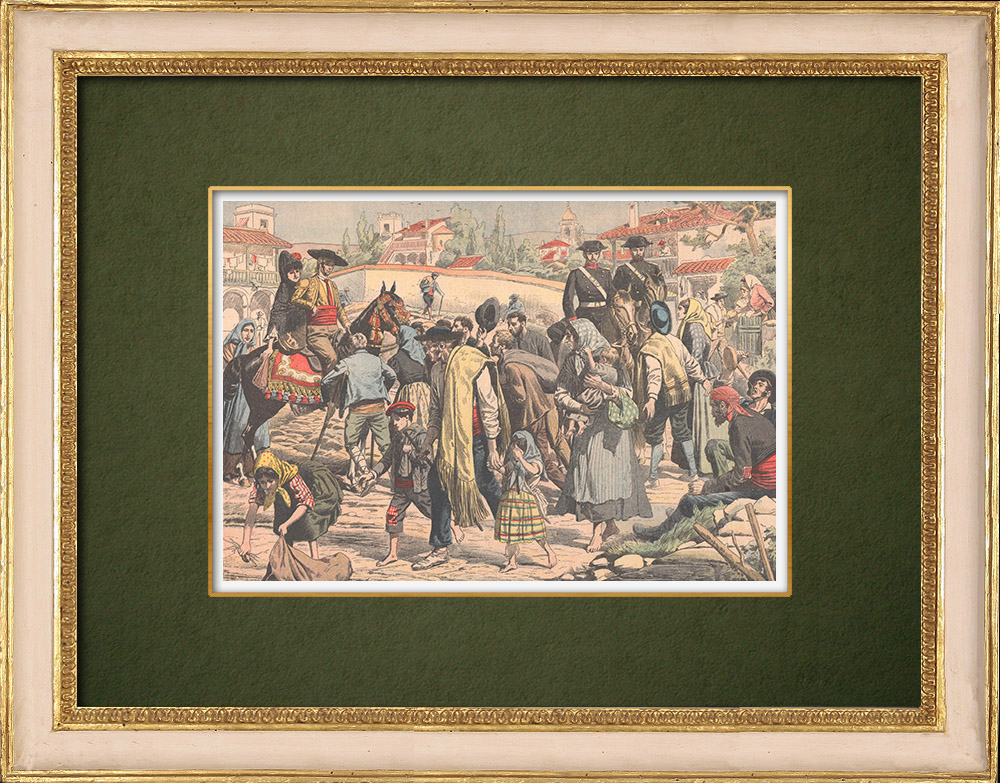 Gravures Anciennes & Dessins | Exode des villageois andalous - Espagne - 1905 | Gravure sur bois | 1905