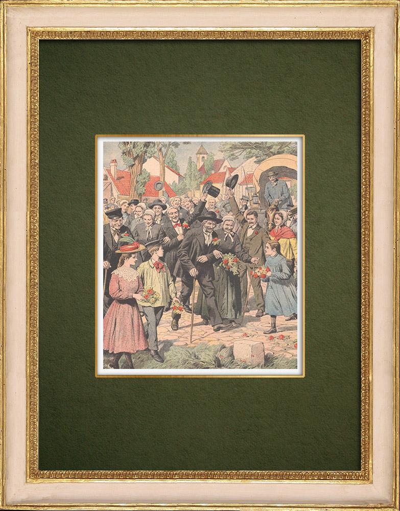 Antique Prints & Drawings   The Centenarian from Verjux - Saône-et-Loire - France - 1905   Wood engraving   1905
