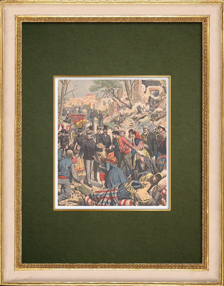 Antique Prints & Drawings | Earthquake in Calabria - Visit of Victor Emmanuel III - Italy - 1905 | Wood engraving | 1905