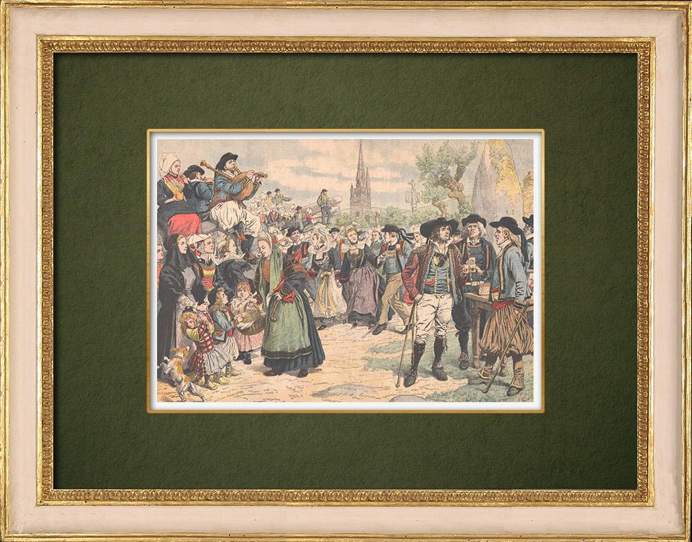 Antique Prints & Drawings | Breton Costume - Saint-Pol-de-Léon - Brittany - France - 1905 | Wood engraving | 1905