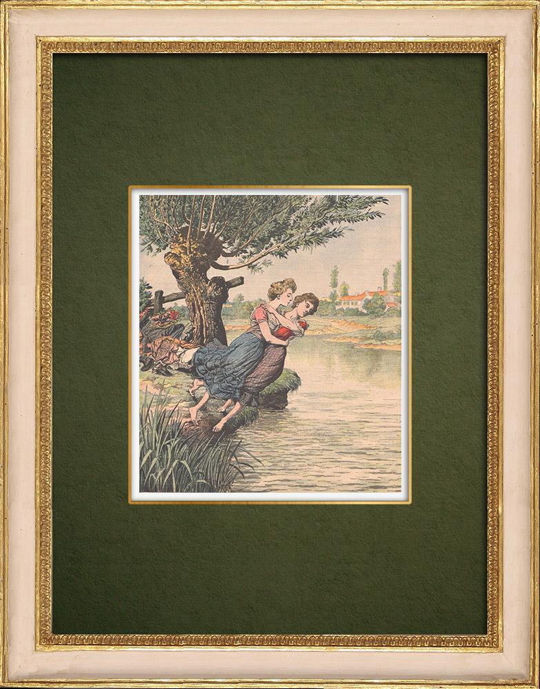 Grabados & Dibujos Antiguos | Suicidio de hermanas gemelas en un río Pirineo - Francia - 1905 | Grabado xilográfico | 1905