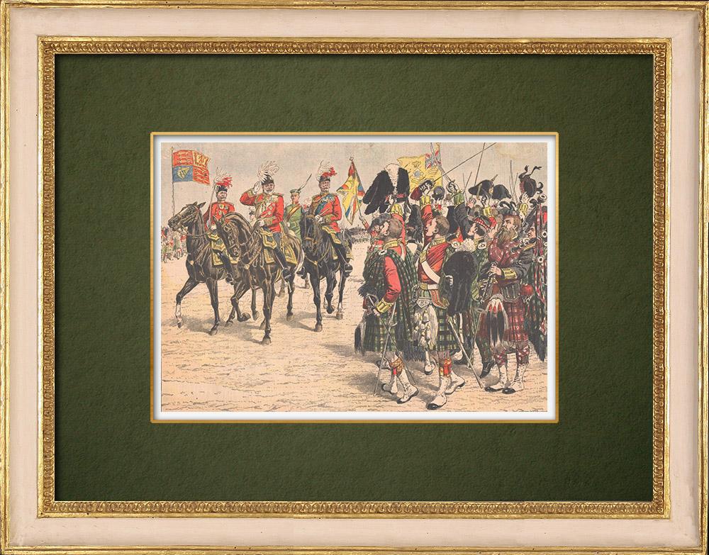 Gravures Anciennes & Dessins   Édouard VII d'Angleterre passe en revue un régiment de Highlanders - Seaforth - Ecosse - 1905   Gravure sur bois   1905