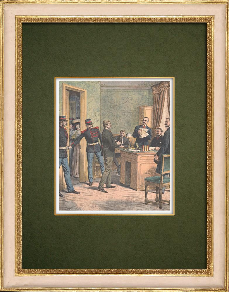 Antique Prints & Drawings | Interrogation of the two thieves of the Comptoir d'Escompte de Paris - 1905 | Wood engraving | 1905