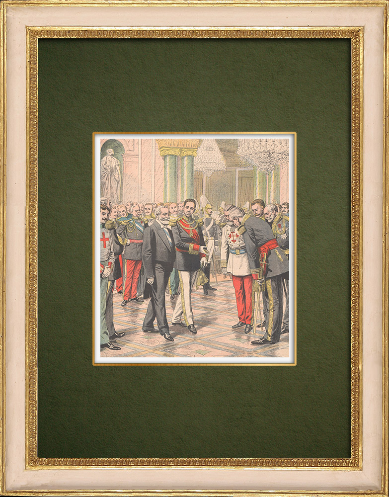 Antique Prints & Drawings | Alfonso XIII receives the President of the french Republic - Palacio Real - Madrid - 1905 | Wood engraving | 1905