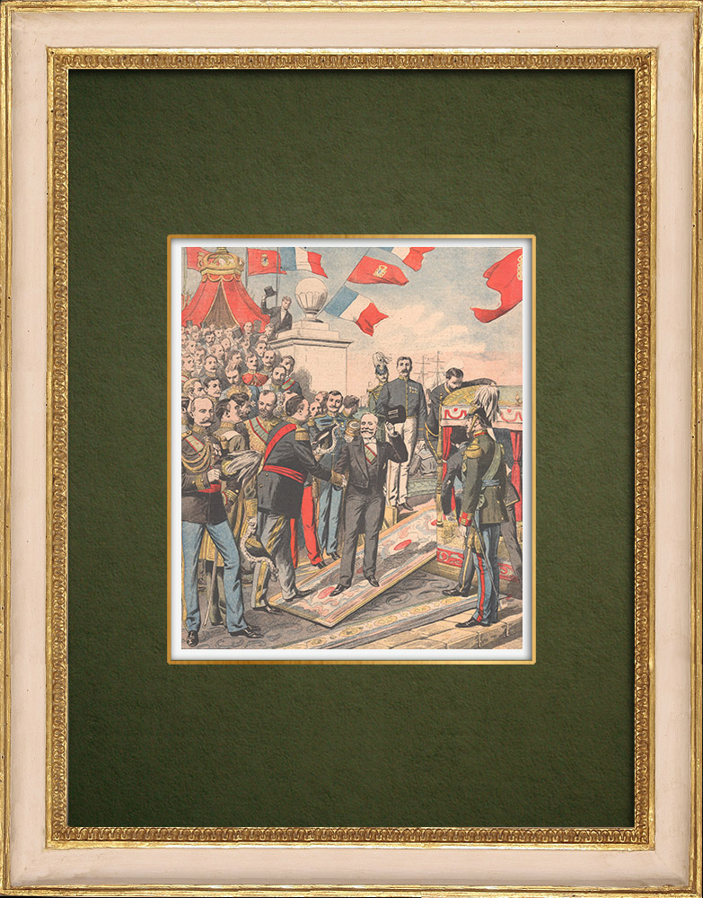 Antique Prints & Drawings | Carlos I of Portugal and the President of the Republic at the pier - Lisbon - 1905 | Wood engraving | 1905