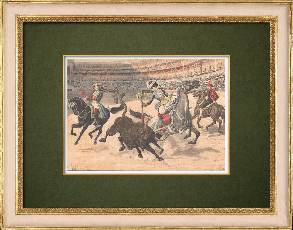 Grabados & Dibujos Antiguos | Celebraciones de Lisboa - Corrida de Toros en Portugal - 1905 | Grabado xilográfico | 1905