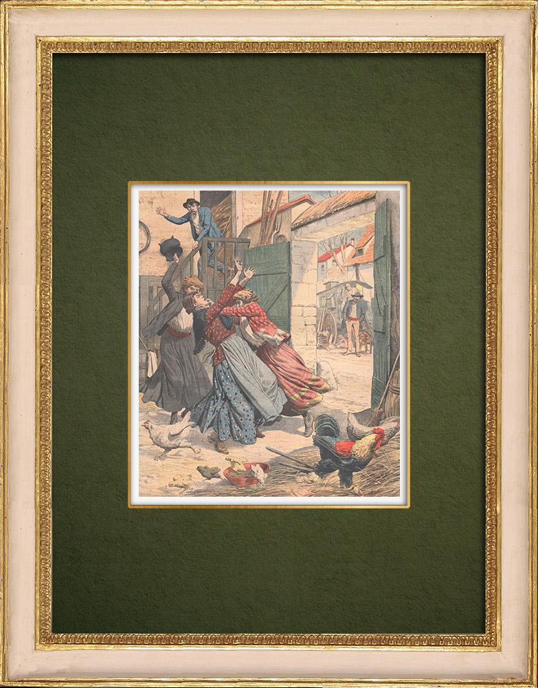 Gravures Anciennes & Dessins   Deux bohémiennes attaquent une ferme près de Montluçon - Auvergne - 1905   Gravure sur bois   1905