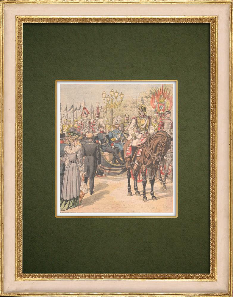 Antique Prints & Drawings | Arrival of the King of Spain in Berlin - Brandenburg Gate - Germany - 1905 | Wood engraving | 1905