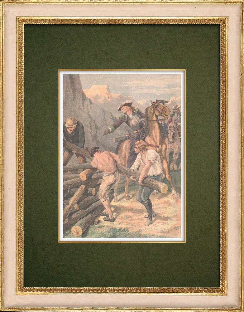 Antique Prints & Drawings | Tribute to Philis de la Charce, historical figure of Dauphiné - 1905 | Wood engraving | 1905