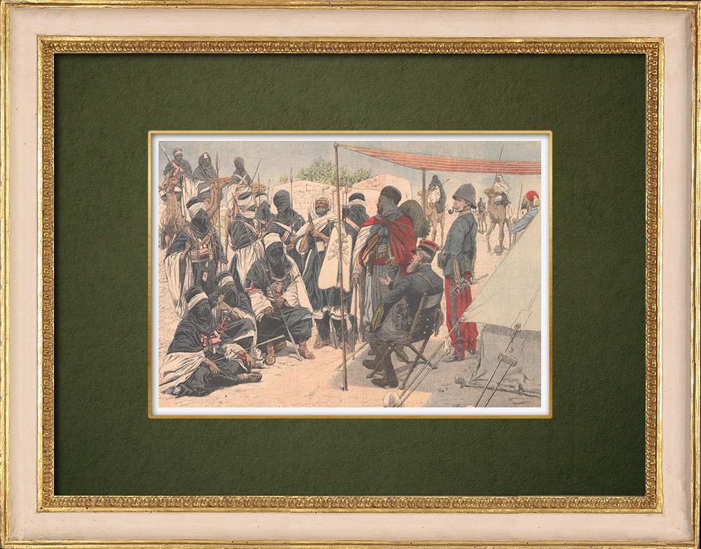 Grabados & Dibujos Antiguos | Conquista de Argelia por Francia - Sumisión de Tuaregs - Tamanrasset - Argelia - 1905 | Grabado xilográfico | 1905