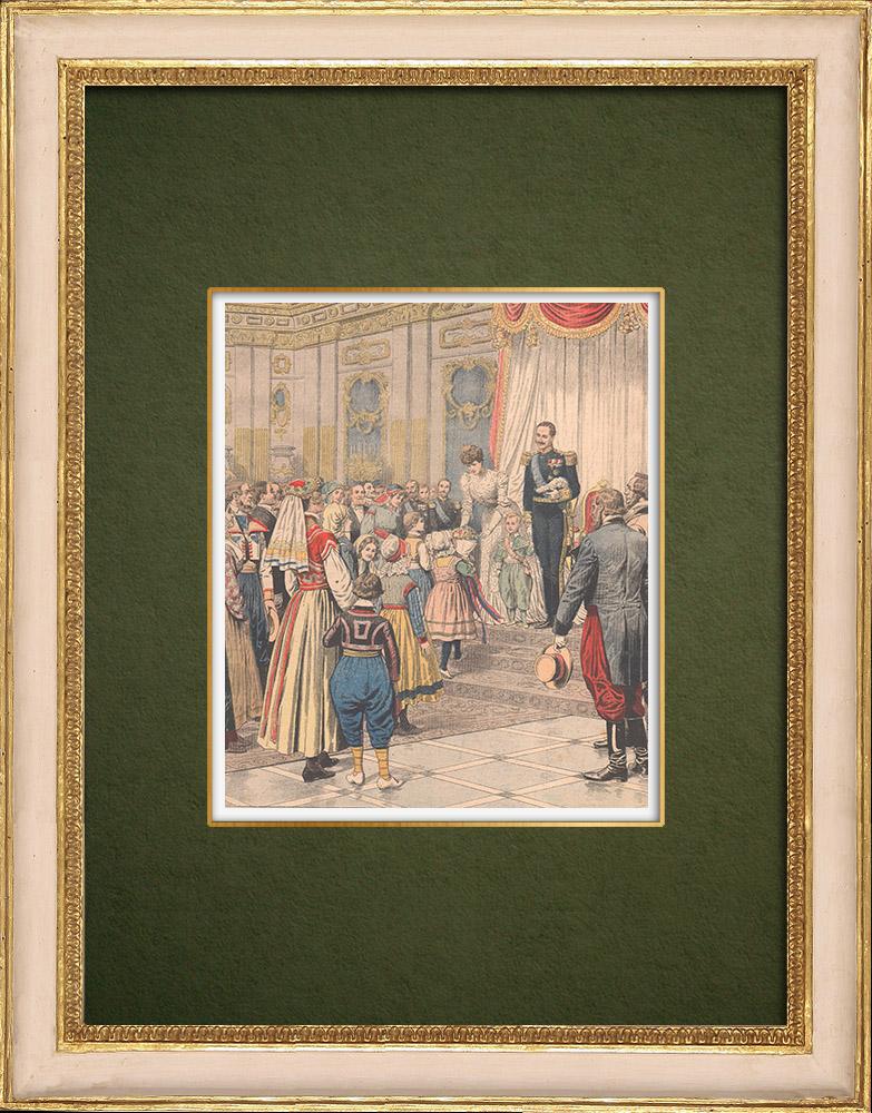 Gravures Anciennes & Dessins | Le roi Haakon VII et son épouse reçoivent des paysans norvégiens - Christiana - Norvège - 1905 | Gravure sur bois | 1905