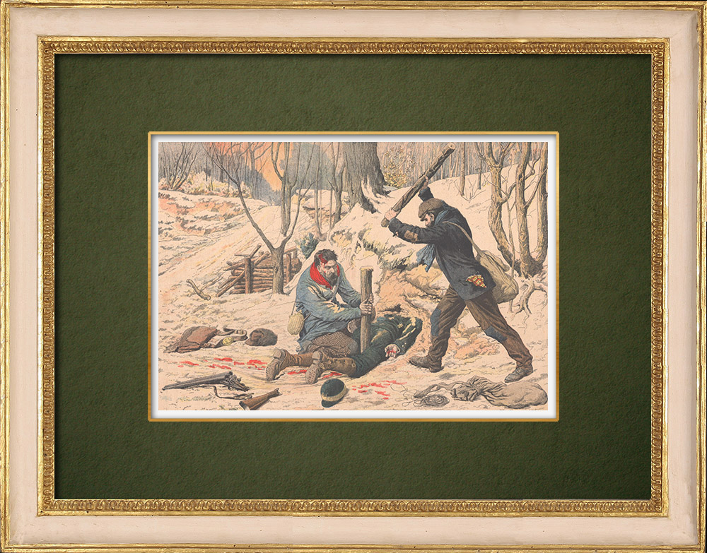 Antique Prints & Drawings   A game warden buried alive by two highwaymen - Les Essards - France - 1905   Wood engraving   1905