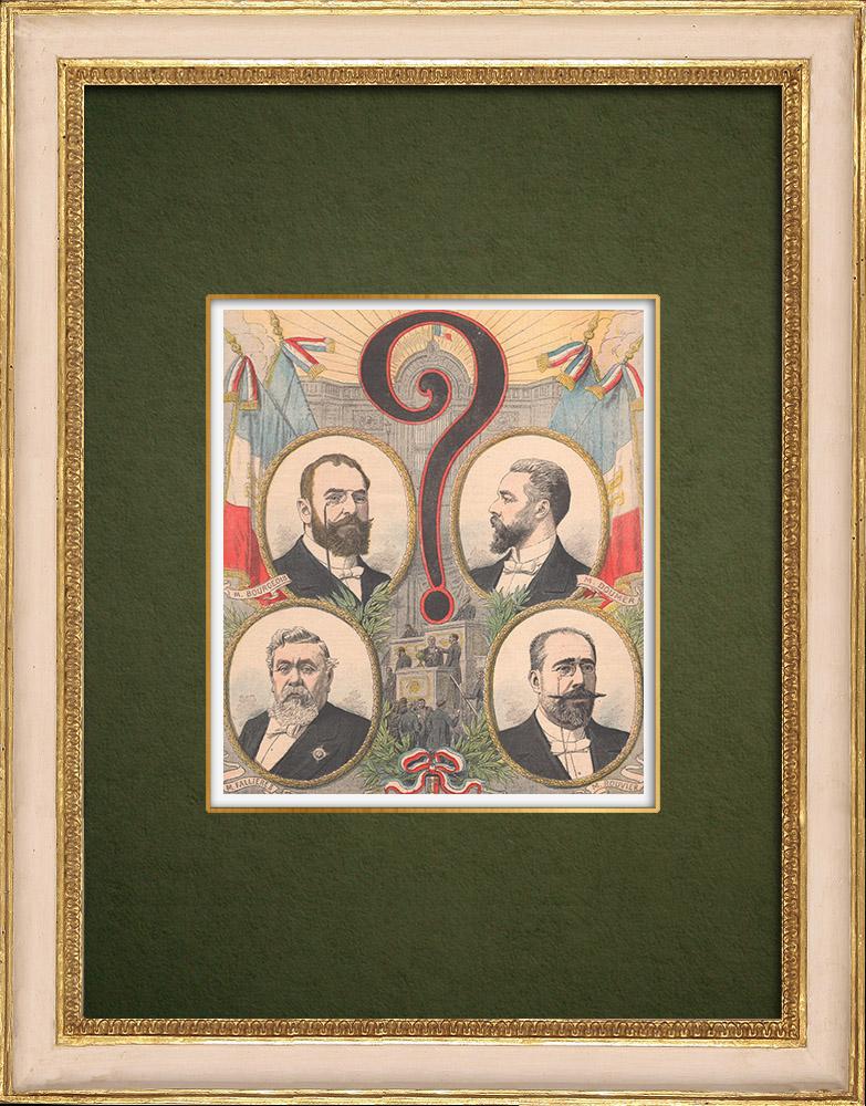 Gravures Anciennes & Dessins | Candidats à l'élection présidentielle de 1906 - France | Gravure sur bois | 1905