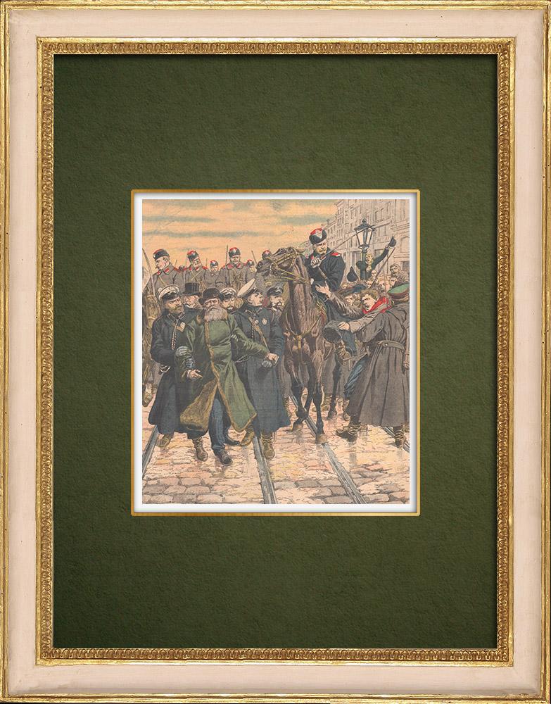 Gravures Anciennes & Dessins | Grève des postiers en Russie - Arrestation des chefs - Saint-Pétersbourg - Russie - 1905 | Gravure sur bois | 1905