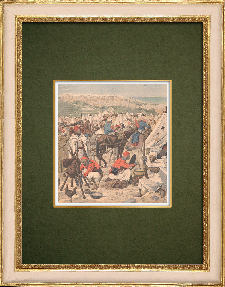 Antique Prints & Drawings | Mohammed el Guebbas's army in Tangier - Morocco - 1907 | Wood engraving | 1907