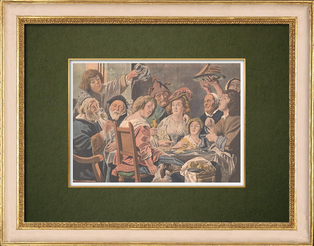 Antique Prints & Drawings   The king drinks - Jacob Jordaens - Flemish painter - XVIIth Century   Wood engraving   1907