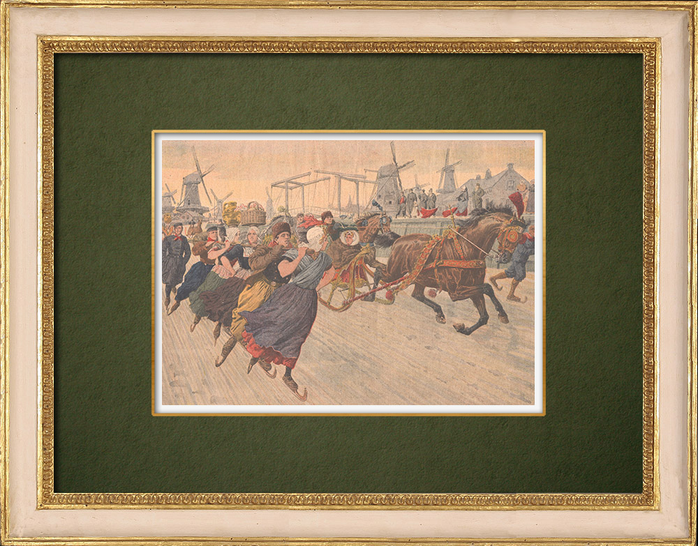 Antique Prints & Drawings   Winter in Holland - Skating on the canals - Amsterdam - 1907   Wood engraving   1907