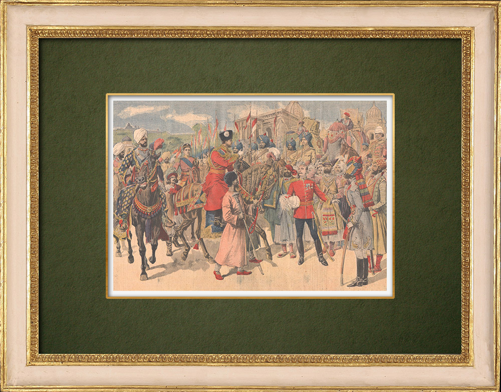 Antique Prints & Drawings   Arrival of the Emir of Afghanistan in Peshawar - British India - 1907   Wood engraving   1907