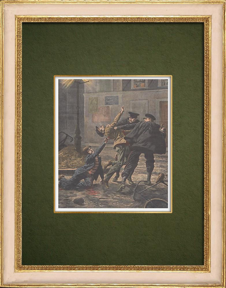 Grabados & Dibujos Antiguos | Asesinatos entre bandidos en París - 1907 | Grabado xilográfico | 1907