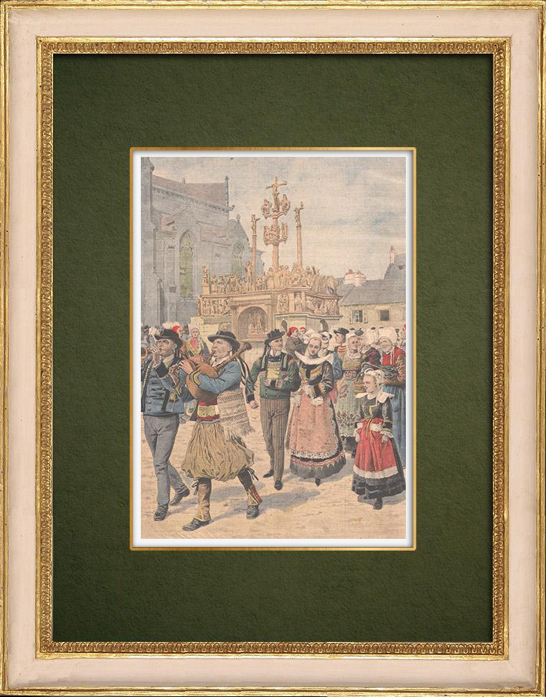 Gravures Anciennes & Dessins | Jour des mariages à Plougastel - Bretagne - 1907 | Gravure sur bois | 1907