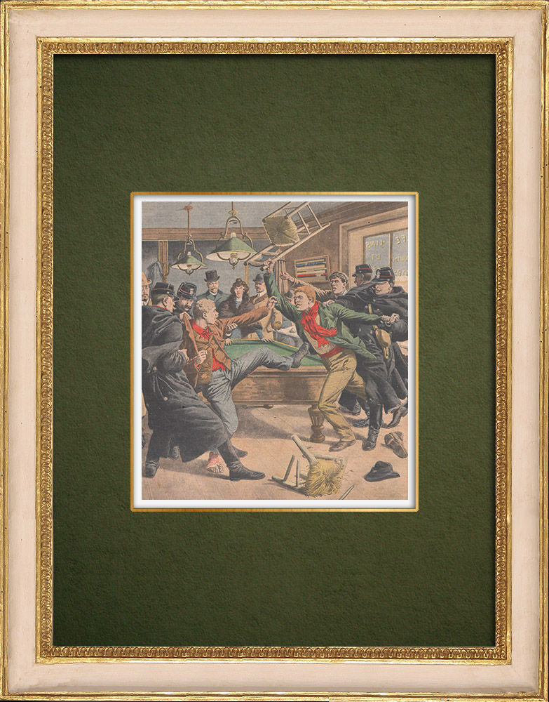 Antique Prints & Drawings   Crime of the Avenue de Choisy - Brawl between the accused - Paris - 1907   Wood engraving   1907